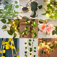 Tira de luces Led de hojas verdes, guirnalda de flores de hojas de vid, 4,5 V, batería de energía para fiesta, decoración de jardín, 2m, 10m