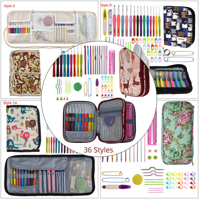 36 Styles Crochet Hook Set With Case Weaving Knitting Needles Set DIY Needle Arts Craft Sewing Tools Accessories For Women