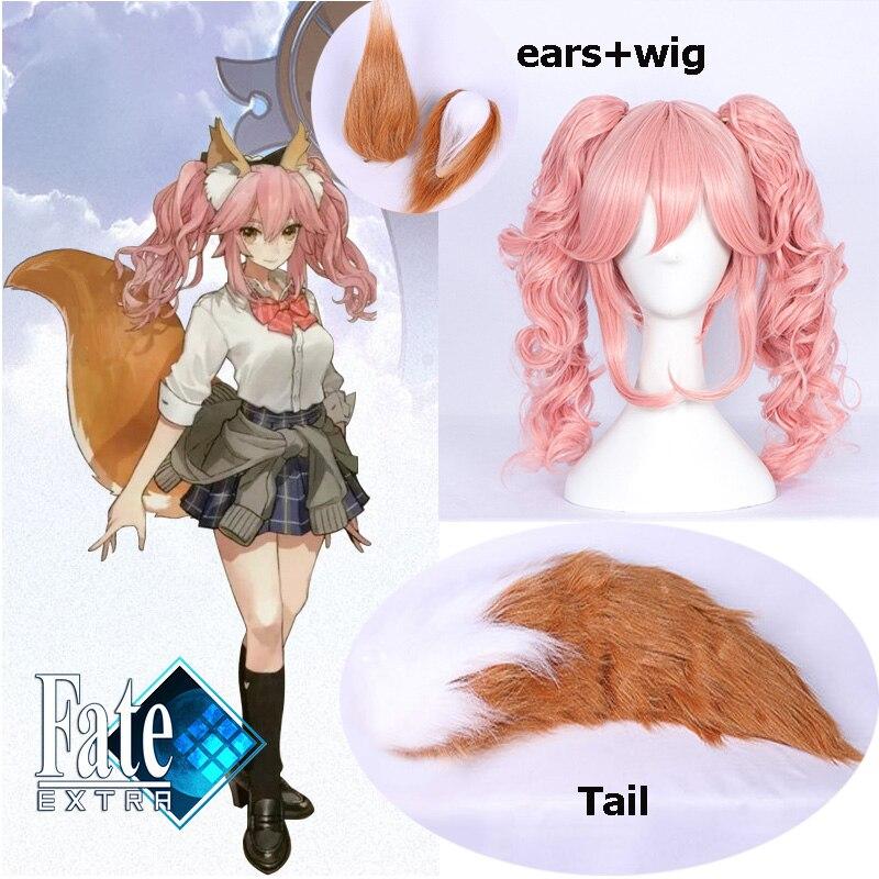 Anime fate/fate extella fate/grand order cosplay peruca tamamo não mae cos dia das bruxas só orelhas e cauda cosplay raposa orelhas de cão cauda