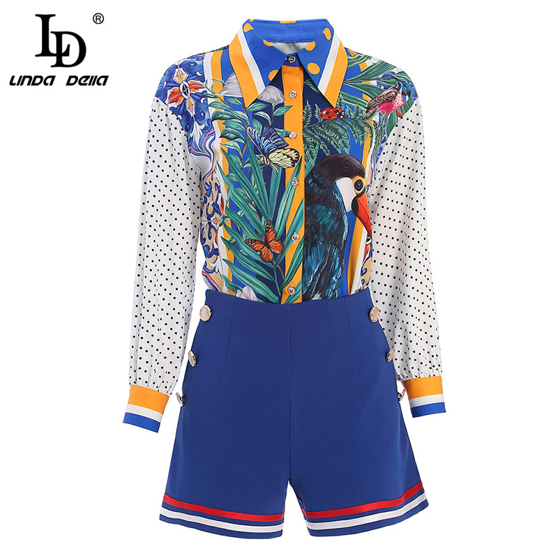 LD LINDA DELLA Spring Summer Fashion Designer Shorts Suits Women's Sets Animal Floral Pirnt Shirt And Skirt 2 Two Pieces Set