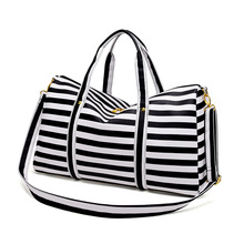 BELLELIFE Leather Stripe Travel Bag for WOMEN Large Capacity Duffel Luggage Bag Travel Handbag Weekend Trip Bags Bolsa de viaje