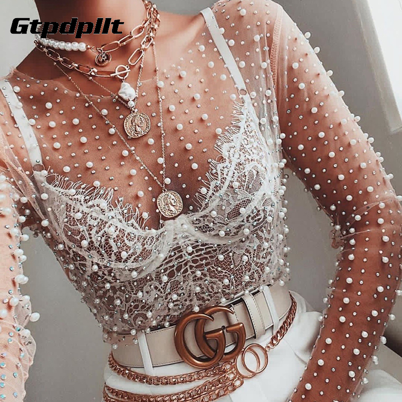Gtpdpllt Sexy See Through T Shirt Women Mesh Patchwork Diamonds pearl Slim t-shirts Elegant Crop Tops Female 2020 Spring Clothes 1