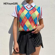 HEYounGIRL-suéter de punto de arcoíris Y2K para mujer, chaleco de Argyle, Top sin mangas a cuadros, Top corto, estilo Preppy, prendas de punto informales para otoño