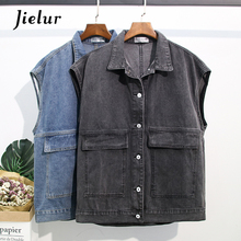 Jielur Denim Vest Women Turn-down Collar 2019 New Solid Color Pockets Loose Long Autumn Winter  2 Colors Sleeveless Jacket