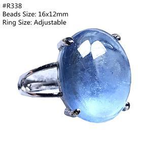 Image 3 - אמיתי טבעי אוקיינוס כחול תרשיש טבעת תכשיטי לאישה איש קריסטל ברור סגלגל חרוזים כסף חן מתכוונן טבעת AAAAA