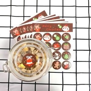 Image 2 - 1600 шт./лот Kawaii Merry Christmas, Санта Клаус, олень, круглые самоклеящиеся декоративные подарочные наклейки, подарочные этикетки, оптовая продажа