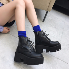 Купить с кэшбэком punk boots waterproof boots women shoes High Heels ankle boots winter Autumn shoes motorcycle boots women fashion YMA530-1
