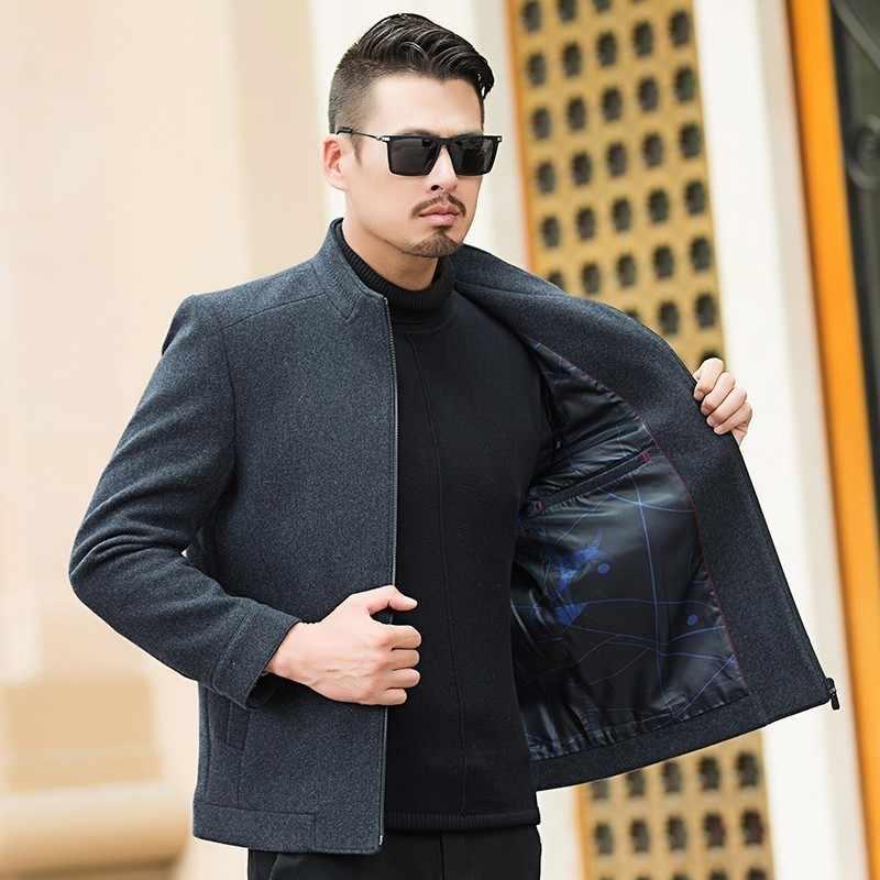 Artı boyutu 8XL 7XL yün ceket erkekler yüksek kaliteli yün ceket rahat iş erkek trençkot ceket erkekler ayakta yaka palto