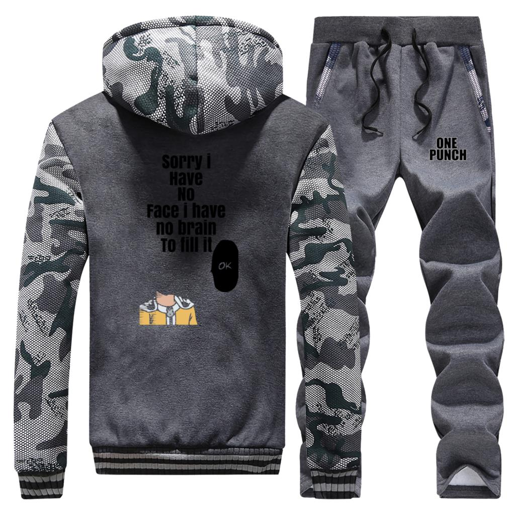 One Punch Man Japanese Anime Fashion Camo 2 Piece Set Jackets Sweatshirtpants 2019 New Winter Bodywarmer Casual Streetwear Set