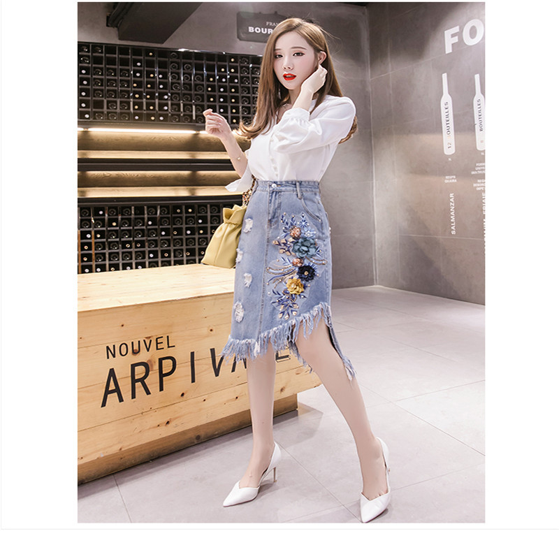 2020 New Fashion Popular Embroidered Blue Ladies High-grade One Size Half-length Denim Skirt  722-746