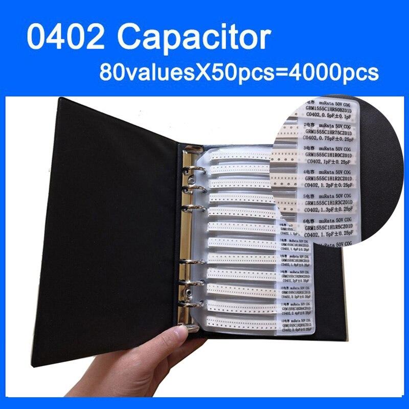 Бесплатная доставка, 0402 SMD конденсатор, книга для образцов 80 valuesx50 шт. = 4000 шт. 0,5 пФ ~ мкФ набор различных конденсаторов в упаковке