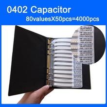 משלוח חינם 0402 SMD קבלים מדגם ספר 80valuesX50pcs = 4000pcs 0.5PF ~ 1UF קבלים מבחר ערכת חבילה