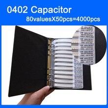 จัดส่งฟรี 0402 SMD Capacitor หนังสือตัวอย่าง 80valuesX50pcs = 4000 PCS 0.5PF ~ 1UF Capacitor Assortment KIT Pack