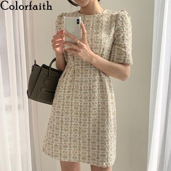 Colorfaith/Новинка 2021 года; Женские летние платья; Модное Элегантное клетчатое винтажное мини-платье с высокой талией и пышными рукавами; DR2152