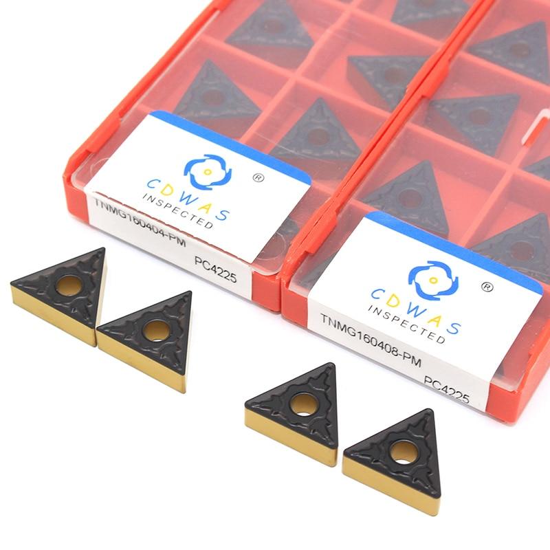 Купить с кэшбэком TNMG160404 TNMG160408 TNMG160412 PM PC4225 High Quality External Turning Tool TNMG 160404 CNC Tool Carbide Inserts For Steel