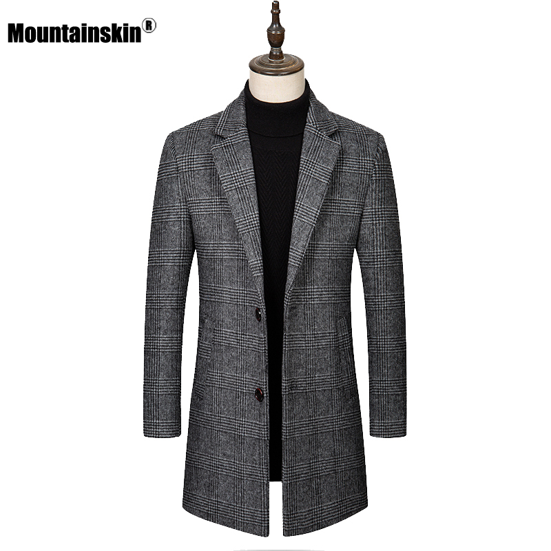 Mountainskin Men's Plaid Wool Jacket 2020 New Fashion Mens Casual Thick Long Jacket Windproof Slim Fit Lapel Coat Male SA954