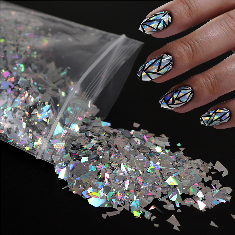 10g Holographic AB Nail Sticker Shell Sparkly Sequins  Irregular Paillette DIY Gel Polish Manicure Nail Art Decorations