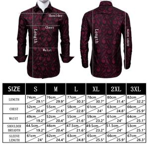 Image 2 - Barry.Wang Red Paisley Bright Silk Shirts Men Autumn Long Sleeve Casual  Flower Shirts For Men Designer Fit Dress Shirts BCY 01