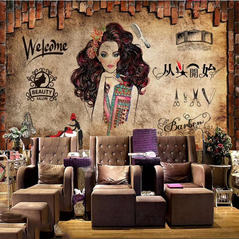 Barber Shop Wallpaper 3D Personalized & Creative Salon Only Decoration Mural Hair Salon Wall Wallpaper Retro