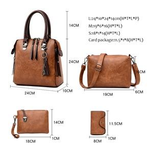 Image 2 - Women Handbags and Purse 3pcs Bag Set Female Shoulder Crossbody Bag Solid Color Soft Bag Wallet Handbag Cat Tassels Bags