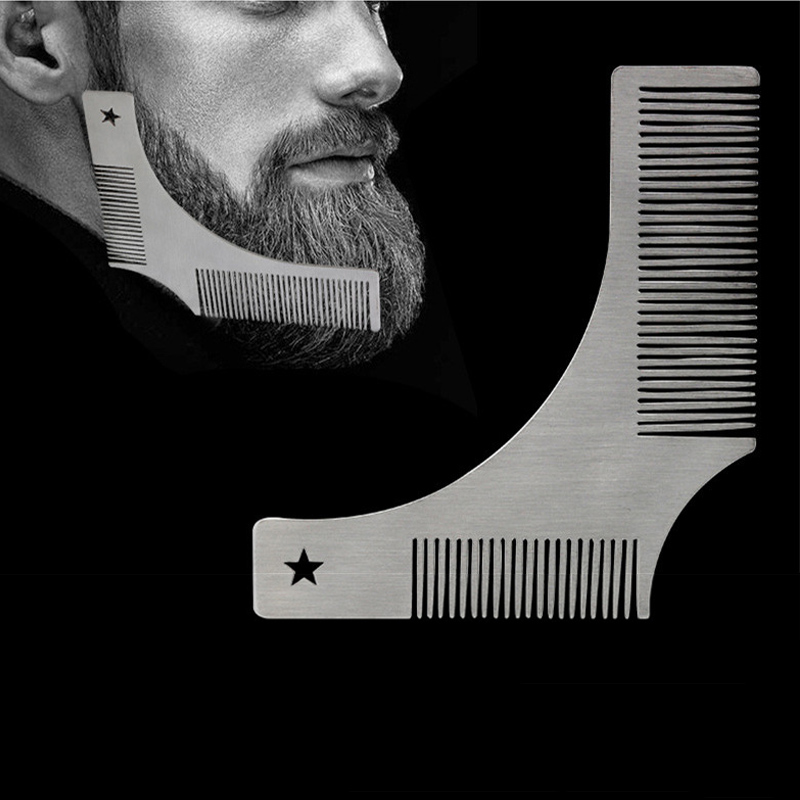 2 In 1 Stainless Steel Men Beard Shaping Comb Beard Styling Template Brush Trimmer Beard Modeling Template Carding Tool