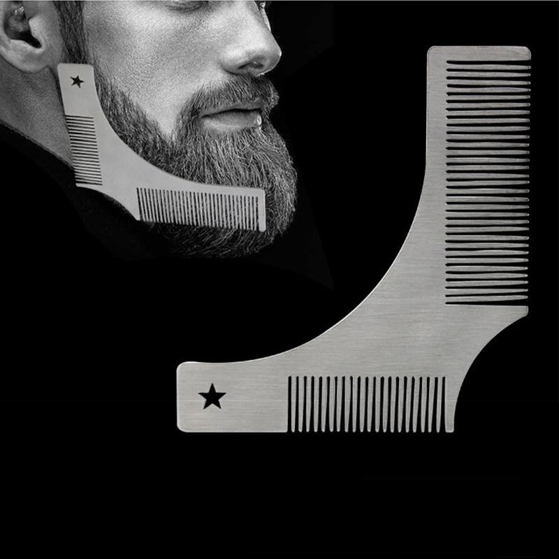 2 In 1 Stainless Steel Men Beard Shaping Comb Beard Styling Template Brush Trimmer Beard Modeling Template Carding Tool