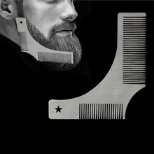 2 in 1 Stainless Steel Men Beard Shaping Comb Styling Template Brush Trimmer Modeling Carding Tool