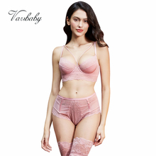 Varsbaby sexy lace deep V unlined hollow breathable bra and panty set bra+panties+stockings 3 pcs