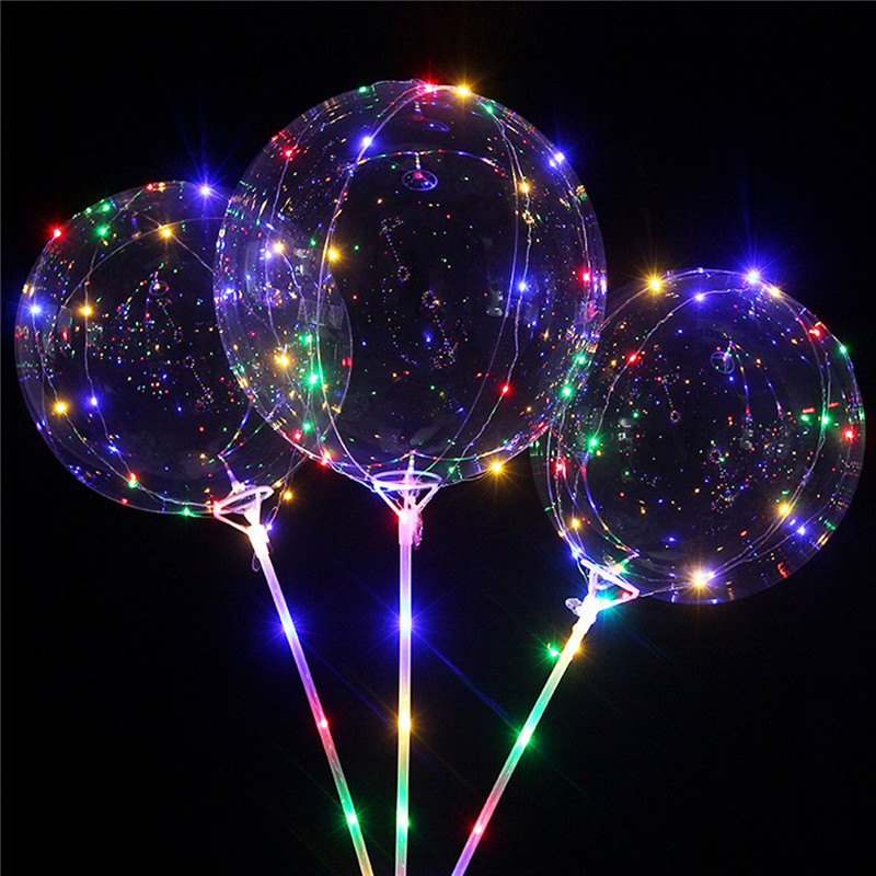 LED Balloon Sticks Led-Light Clear Helium Birthday-Party-Decorations Transparent Bobo