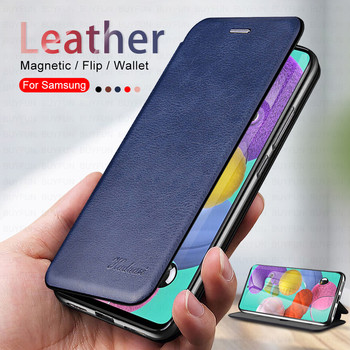 Leather Magnetic Leather Flip Phone Case For Samsung Galaxy A51 4G Back Cover For Samsung A71 4G A50 samsung a70 Shell Armor image