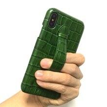 Solque אמיתי עור Ultra Thin מקרה עבור iPhone X XS מקסימום 7 8 בתוספת טלפון סלולרי יוקרה תנין רצועת יד slim קשיח כיסוי מקרי
