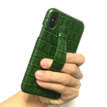 Solque funda ultrafina de piel auténtica para iPhone X, XS, Max, 7, 8 Plus, correa de mano de cocodrilo de lujo, cubierta rígida delgada