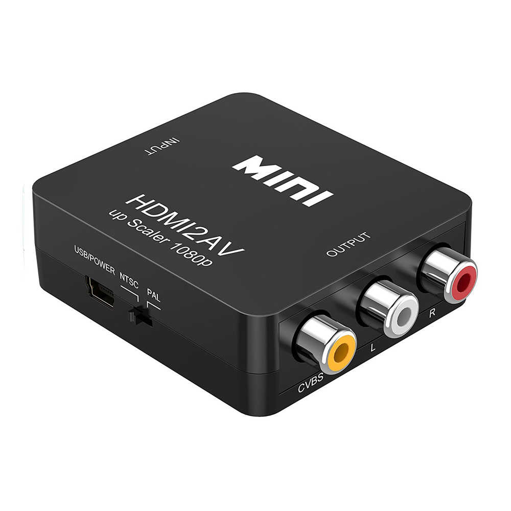 HDMI TO AV Scaler Adapter HD Video Converter Box HDMI to RCA AV/CVSB L/R Video 1080P HDMI2AV Support NTSC PAL