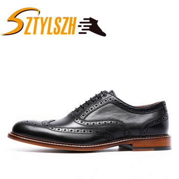 Men's Plain Toe Wholesale Oxford Genuine Leather Dress Shoes Brown Black Hand-Painted Shoes Male Formal Shoe Man Shoes