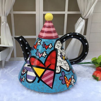 Creative Large Novelty Ceramic Painted Teapot Kettle Multifunctional Tea Set Home Decoration  Chinese Teacup Bag