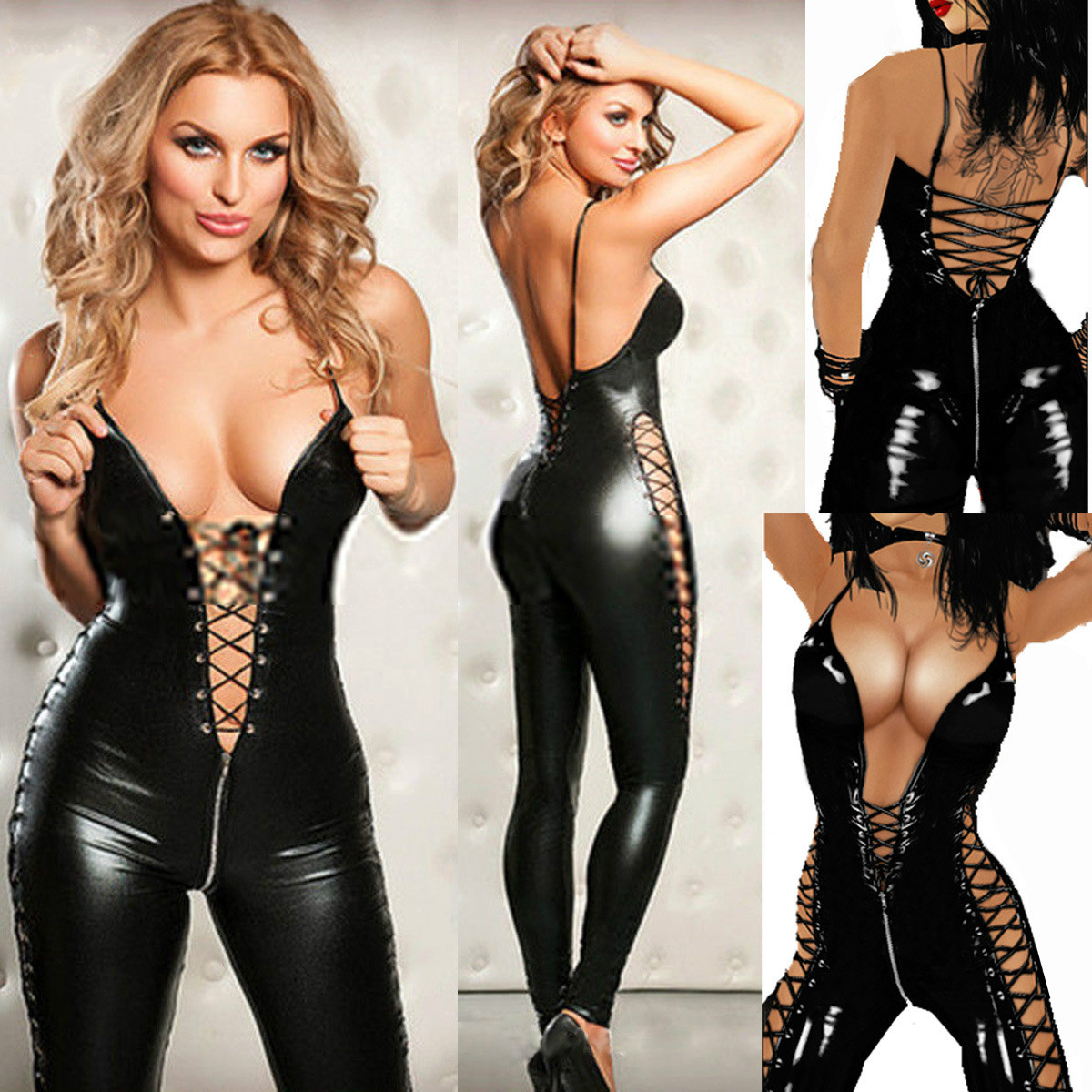 Sexy Black Patent Leather Hollow Out Zipper Skinny Rompers Womens Jumpsuit Lace Bodysuit Sexy Cosplay Plus Size Women Jumpsuit