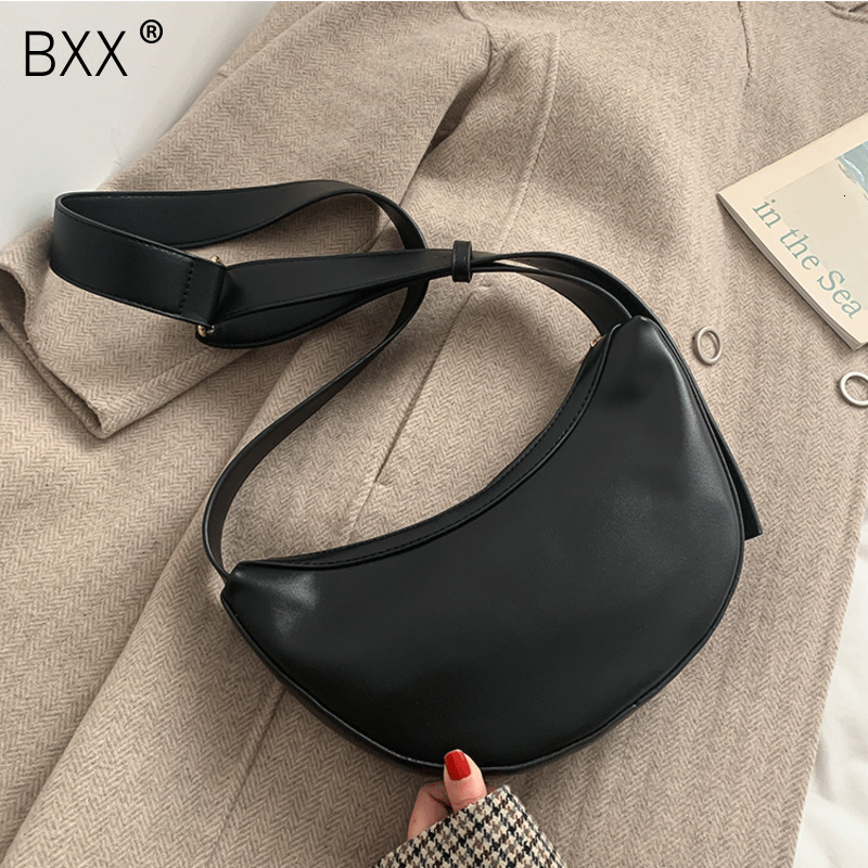 [BXX] PU Leather Crossbody Bags For Women 2020 Solid Color Shoulder Messenger Dumplings Bag Lady Travel Handbags And Purses A344