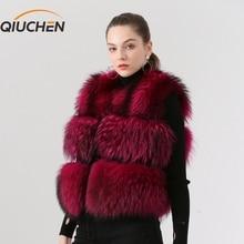 QIUCHEN PJ8051 женский жилет из натурального меха енота меховой жилет короткая куртка женская зимняя модная короткая жилетка высокого качества