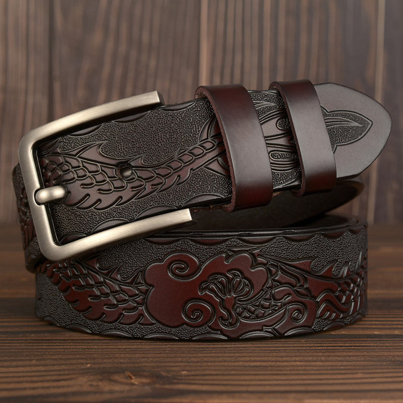 New Genuine Leather Belts for men Designer Belt Male Dragon Print Vintage Pin Buckle Luxury Strap New Fashion High Quality