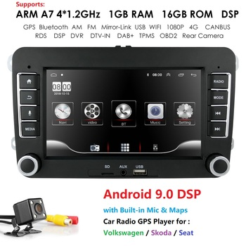 DSP Car Multimedia player Android 9.0 GPS 2 Din Car Autoradio Radio For VW/Volkswagen/Golf/Polo/Passat/b7/b6/SEAT/leon/Skoda image