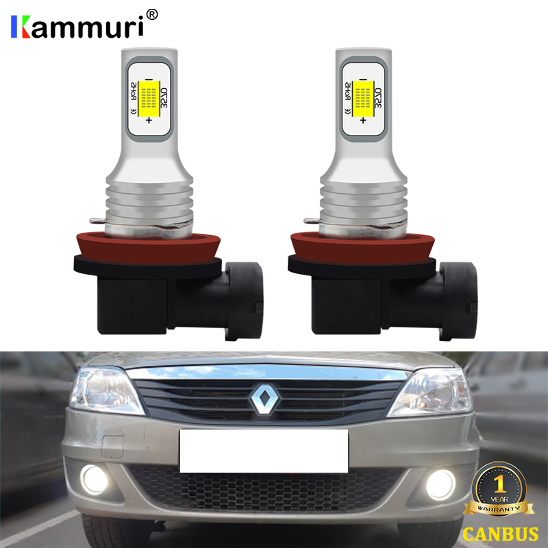 KAMMURI H11 H8 LED Car Fog Lamp For Renault Reno Logan 2 Laguna Duster Trafic Megane Captur PSX24W Led Driving Fog Lamp Light