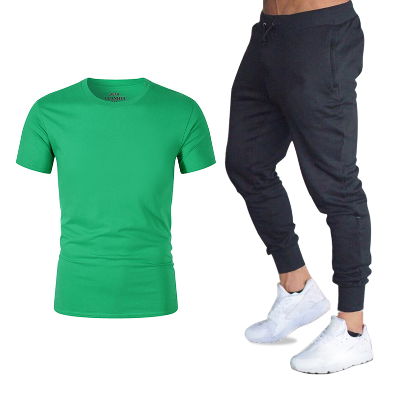 Summer Short Sleeve Round Neck Sports Casual Fashion T-shirt + Sports Casual Pants Suit