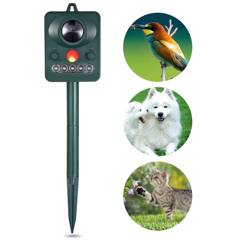 2PCS Solar PIR Motion Sensor Ultrasonic Bird Repeller Pest Bat Animal Scarer