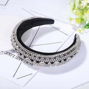 Image 5 - Diadema de terciopelo ancho con corona barroca personalizada, diadema de lujo hecha a mano de Color de cristal, accesorios de joyas para el pelo, tiara de novia