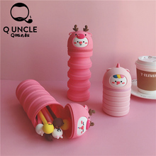 Q UNCLE Super Pencil Case Kawaii Large Capacity Silicone Pencilcase School Pen Supplies Bag Pouch Stationery