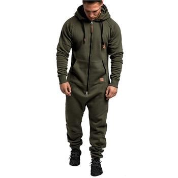 E-BAIHUI streetwear strange Mens sets Jumpsuit One-piece Pajama Playsuit Zipper Hooded Streetwear Overalls hip hop