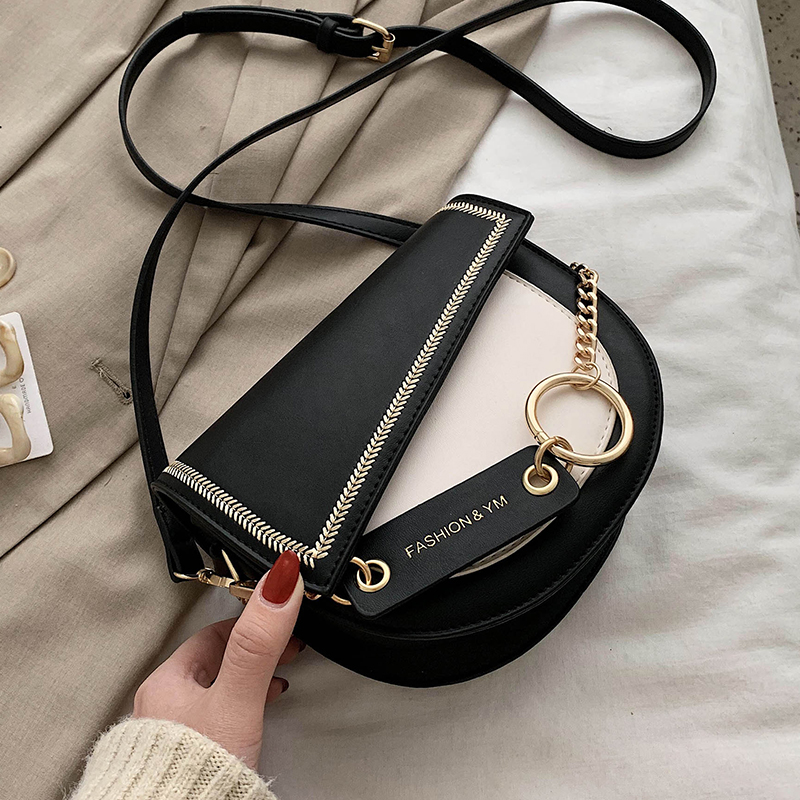 Contrast Color PU Leather Chain Design Crossbody Bags Women Small Handbag Small Bag Ladies Designer Evening Bag Sac A Main Femme