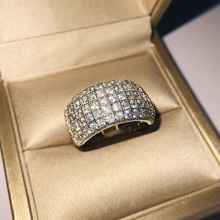2019 New Big Band Ring with Zircon Stone for Women Silver Wedding Engagement Fashion Jewelry 925