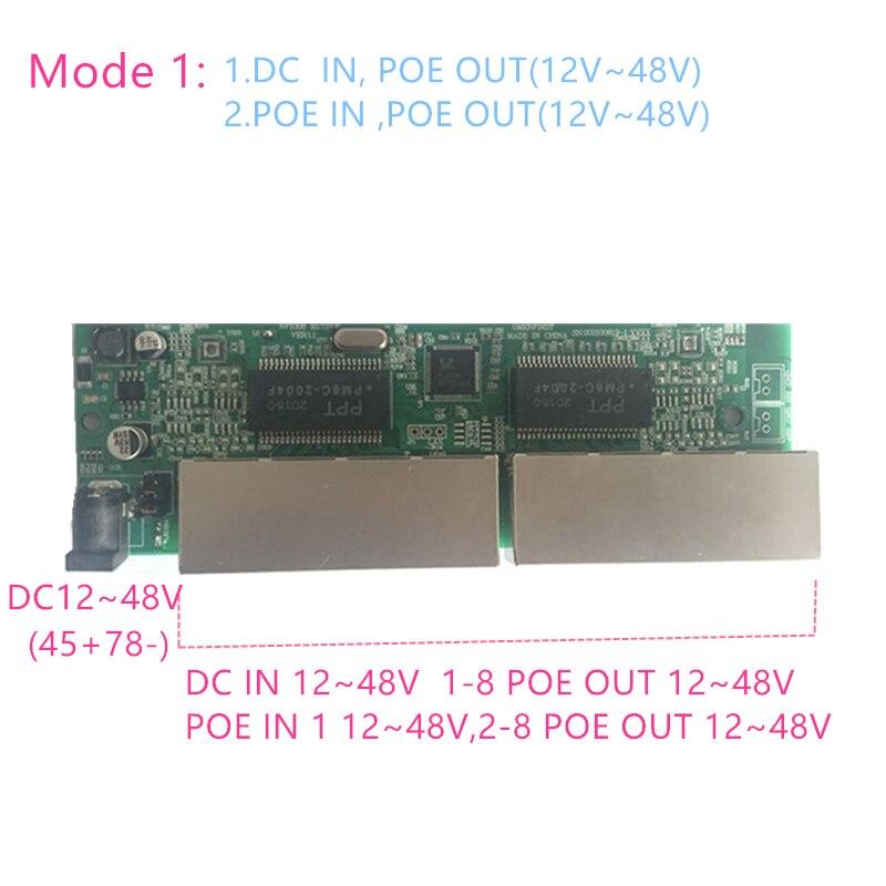 Reverse power Buck poe switch POE IN/OUT 5V12V24V48V 100mbps 802.3AT/AF 45+78- DC5V~48V long distance series Force POE48V12V24V 1