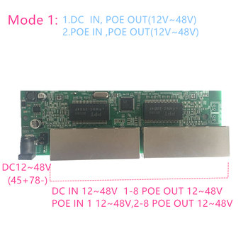 Reverse power Buck poe switch POE IN/OUT 5V12V24V48V 100mbps 802.3AT/AF 45+78- DC5V~48V long distance series Force POE48V12V24V 1